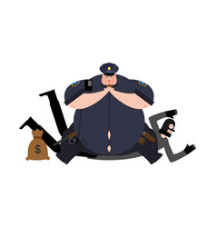 Fat cop and robber detention thick policeman and vector