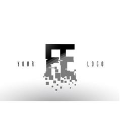 Fe f e pixel letter logo with digital shattered vector