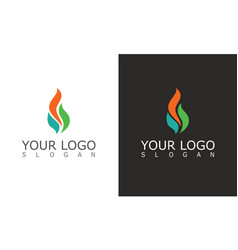 fire flame eco logo vector image