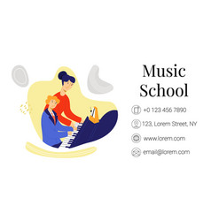 Flat business card music school vector