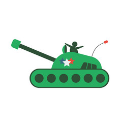 flat hand-drawn cartoon tank armored vehicle icon vector image