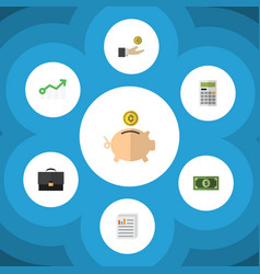 Flat icon finance set of money box greenback vector