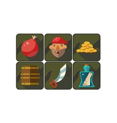 flat set pirate game symbols bomb vector image