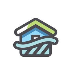 flood disaster home icon cartoon vector image