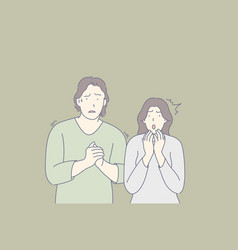 Frightened people scared couple shocked friends vector