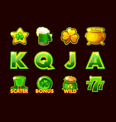 Gaming icon of stpatrick symbols for slot vector