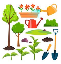 Garden icons watering can shovel sapling vector