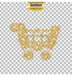Gold glitter icon of cart isolated on vector
