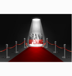Grand opening event banner in spotlights red vector