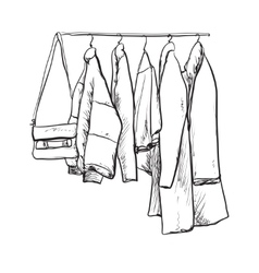Hand drawn wardrobe sketch Clothes vector