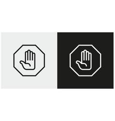 Hand stop sign icon set stop symbols vector