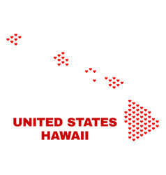 hawaii state map - mosaic of valentine hearts vector image