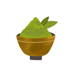 Heap green matcha powder with leaves in bowl vector