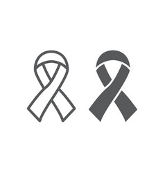 hiv ribbon line and glyph icon health and aid vector image