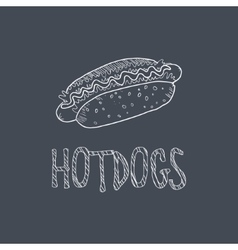 Hotdog Sketch Style Chalk On Blackboard Menu Item vector