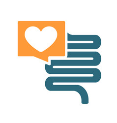 Intestine with heart in chat bubble colored icon vector