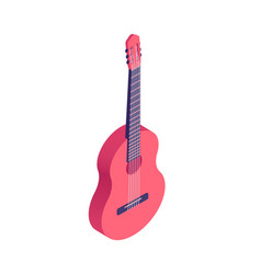 isometric guitar isolated on white background vector image