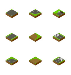 isometric road set of footer underground strip vector image