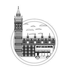 Line london clock tower and urban bus vector