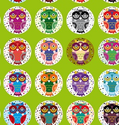 Little funny owls on green background seamless vector