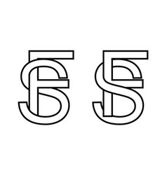 Logo sign fs and sf icon sign interlaced letters s vector