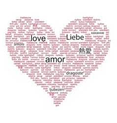 Love concept word in many languages world vector
