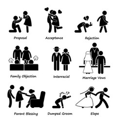 Love couple marriage problem difficulty stick vector