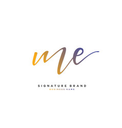 M e me initial letter handwriting and signature vector