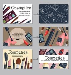 Makeup artist business card Set of cosmetics for vector