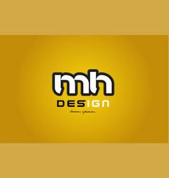 mh m h alphabet letter combination digit white on vector image