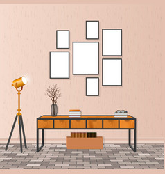 mockup living room interior in hipster style with vector image
