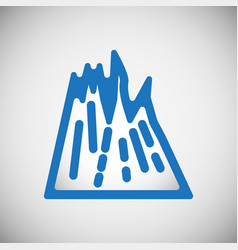 mountain icon blue on white background for graphic vector image