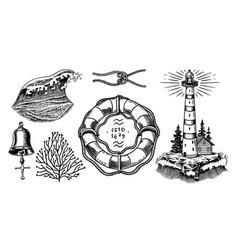 nautical adventure set sea lighthouse marine vector image