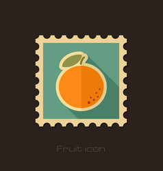 Orange flat stamp tropical fruit vector
