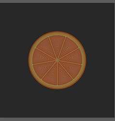 orange fruit cut in half creative linear food vector image