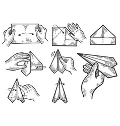 Paper airplane instructions engraving vector