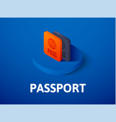 passport isometric icon isolated on color vector image
