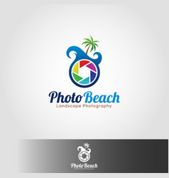 Photo teach logo template vector