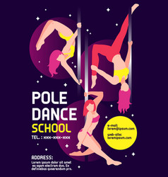 Pole dance school advertising poster vector