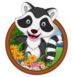 Raccoon cartoon in frame vector
