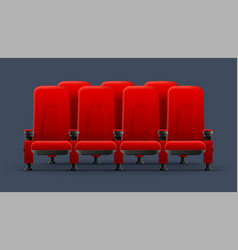 realistic detailed 3d red cinema chairs vector image