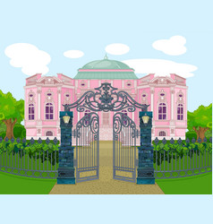 Romantic palace with gate vector
