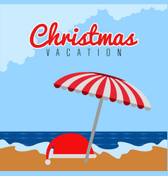 Santa claus hat on the beach christmas vacation vector