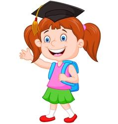 Schoolgirl ready go to school vector