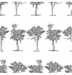 Seamless background drawn trees vector