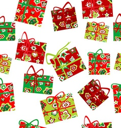 Seamless background with Christmas gift boxes vector image