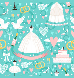 seamless pattern with different wedding symbols in vector image