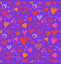 seamless pattern with valentine grunge hearts vector image