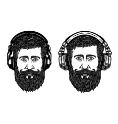 Set of hipster head with headphones design vector