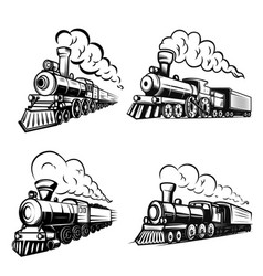 Set of retro locomotives on white background vector